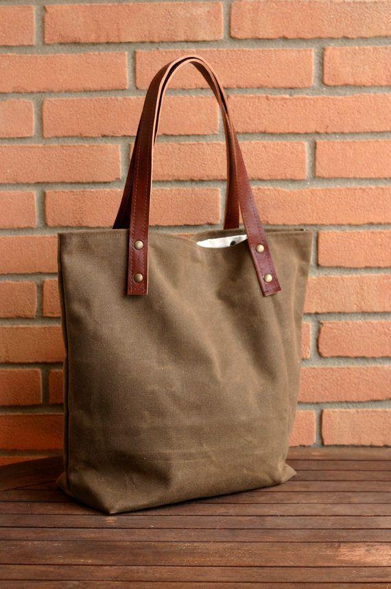 WAXED CANVAS bag - Tote bag - HANDMADE waxed canvas tote - Waxed canvas shoulder bag - Every day bag - market bag - sea bag