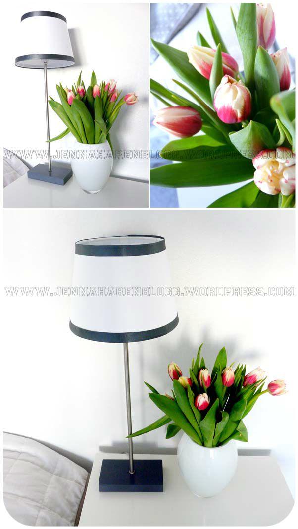 tulips, home decor, lamp, white