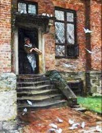 Feeding Pigeons, 1886 ~ Ellen Clacy ~ (English: 1853-1916)