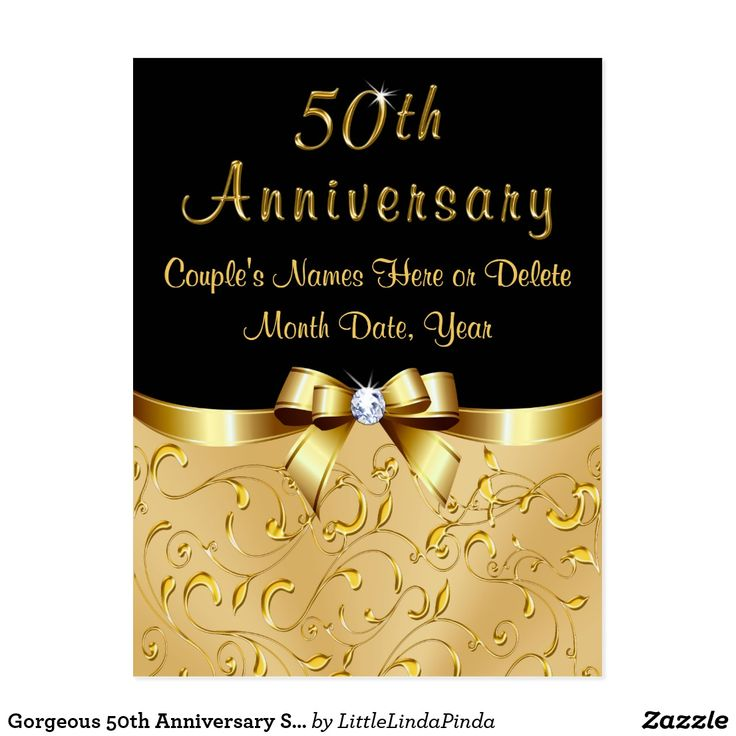 Gorgeous Inexpensive 50th Anniversary Save the Date Post Cards or Change back text for black and gold 50th anniversary invites CLICK: https://www.zazzle.com/z/oj0ay?rf=238147997806552929 CALL Zazzle Designer Linda: 239-949-9090 to create matching or any color combinations, any year or product to celebrate 50 years of marriage. MORE 50th wedding anniversary party ideas, more 50th wedding anniversary party supplies…