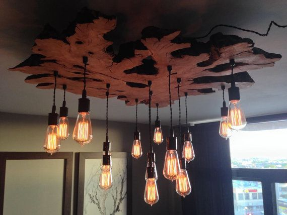 Custom to order a large Live Edge Slab Light Fixture with Hanging Edison bulbs, Twisted Fabric Wire. Chandelier