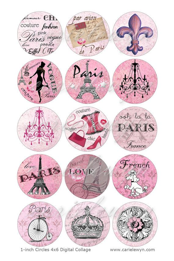 Pink Paris Bottlecap 1'' Circles