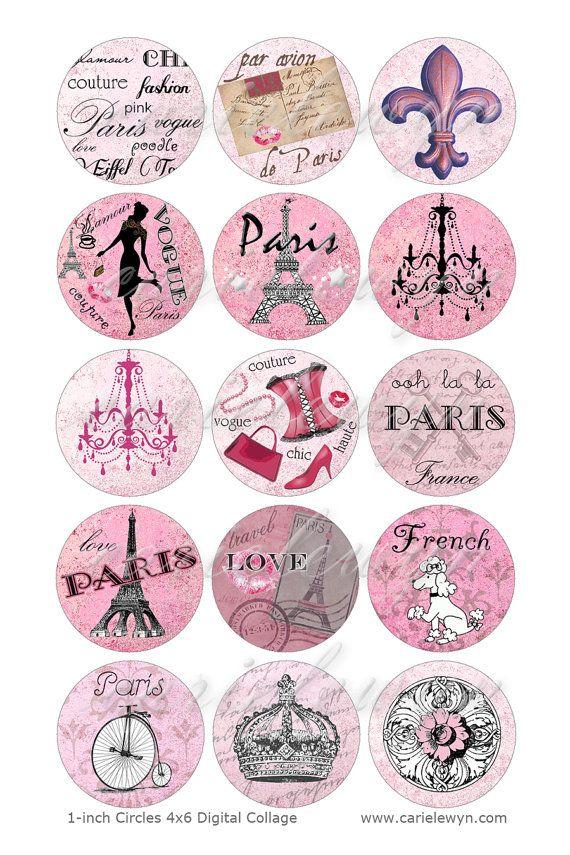 Instant Download - Pink Paris Bottlecap Images / French Poodle, Eiffel Tower, Vintage Postcard Digital Collage Printable 1-Inch Circles via Etsy