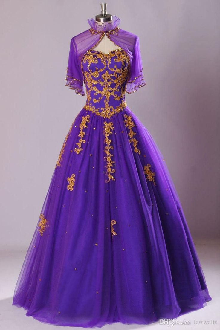 2015 Real Image Quinceanera Dresses Sexy Sweetheart Gold Applique Lace Tulle Purple Dubai Prom Evening Gowns With Sheer Bolero Jacket SU40 Online with $131.94/Piece on Lastwalts's Store | DHgate.com