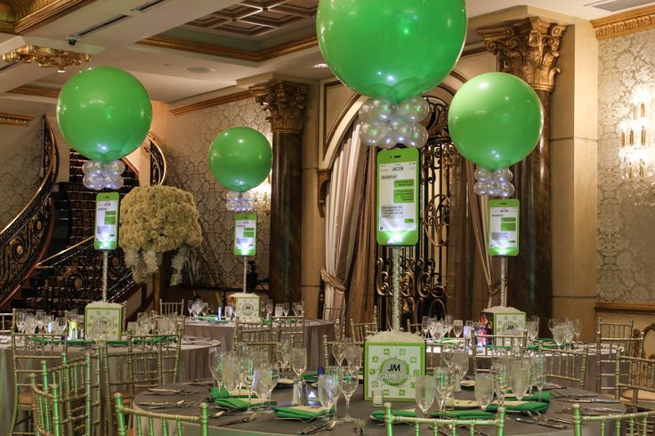 iPhone Themed Centerpieces with Photo Cube Bases & 3' Lime Green Balloons