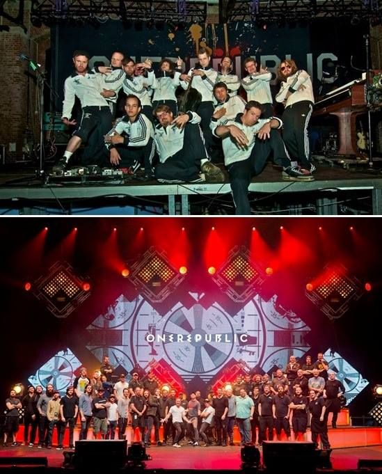Interesting to see: the band and crew in 2010/2011 and in 2014/2015. Bigger shows require more staff! #OneRepublic all these years! Photo cred: Eddie Fisher FC