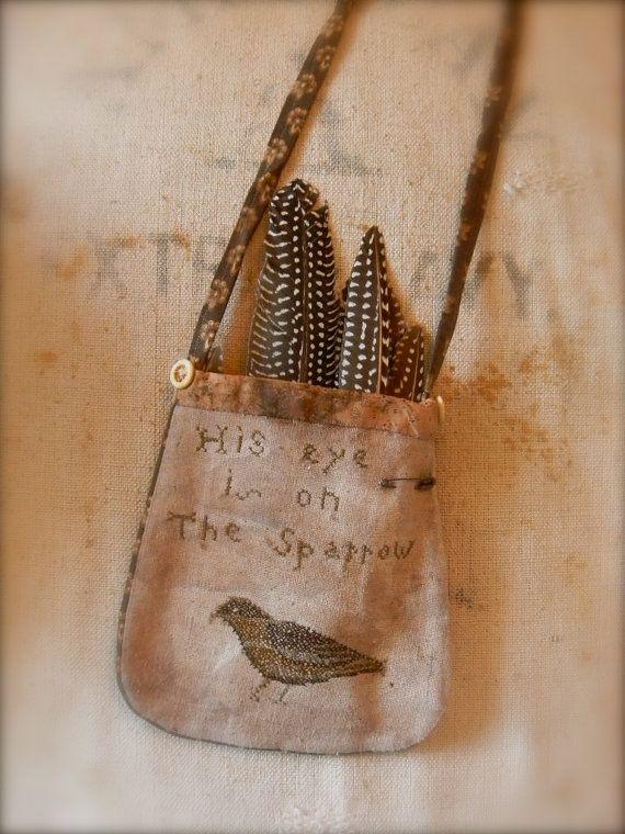 Sparrow Pocket FREEHAND Cross Stitch PATTERN  by notforgottenfarm, $8.00
