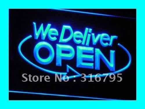 i028 OPEN We Deliver Services Cafe NR LED Neon Light Sign On/Off Switch 20+ Colors 5 Sizes
