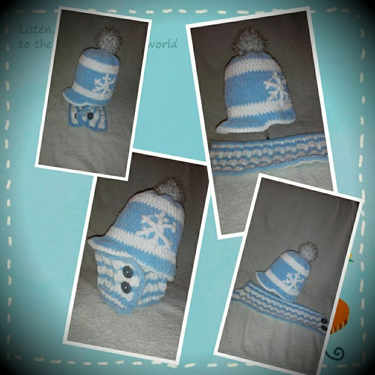 Crochet winter hat and scarf for boy.
