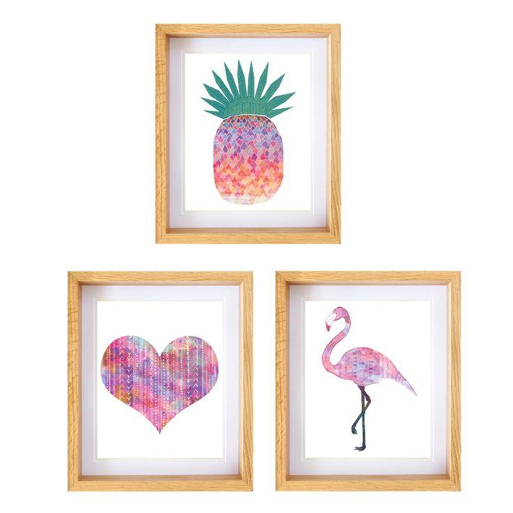 Sunrise Pineapple Print, Three of Hearts Print & Tribal Flamingo Print in Framed Set - barton&bell - Barton & Bell