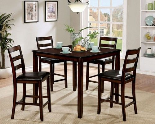 5 PC Furniture Of America Gloria II Counter Height Dining Table Set CM3331PT 5PK
