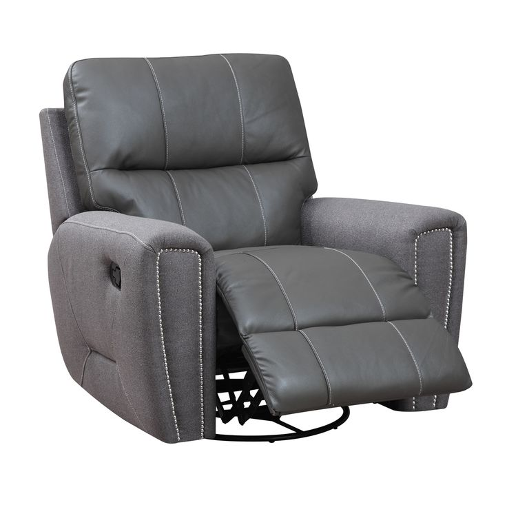 Emerald Grey Leather And Microfiber Swivel Glider Recliner By Emerald Home Furnishings Leather