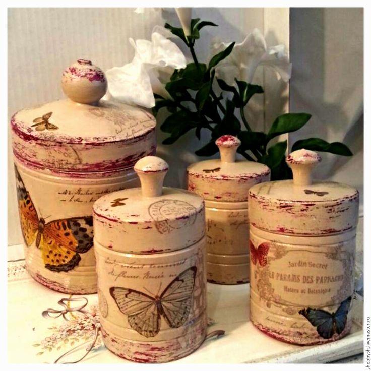 """Купить Набор для кухни """"Бабочки"""" - винтаж, бабочки, прованский стиль, бежевый, вишневый цвет, бочонки"""