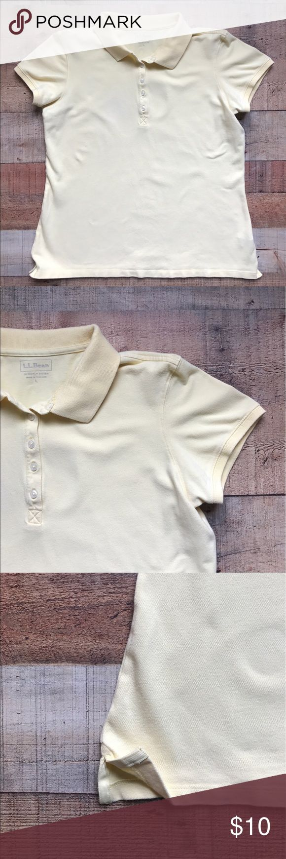 L.L. Bean Polo Shirt Light yellow polo shirt with a not noticeable stain (see last photos). Lightly fitted with split sides. L.L. Bean Tops Button Down Shirts