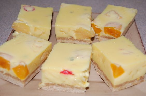 A nice yummy fruit salad slice. with lemon juice, passionfruit and condensed milk