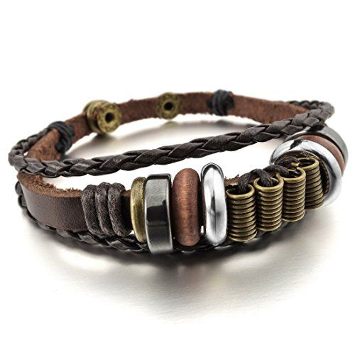 Men,Women's Alloy Genuine Leather Bracelet Bangle Braided Tribal (with Gift Bag) ** To view further for this item, visit the image link.