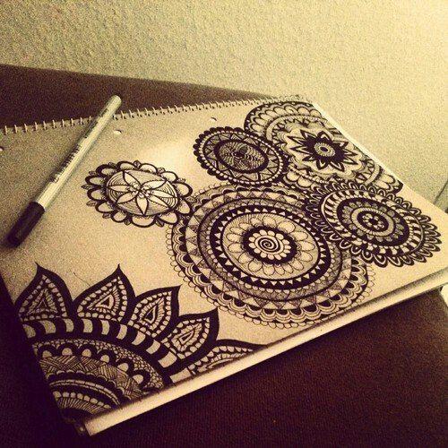 Dark Henna On Paper Paintings Mandalas Drawings Henna Henna