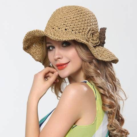 Handmade crochet flower straw sun hat for women UV summer hats