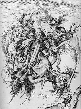 """Martin Schongauer,""""La Tentation de Saint-Antoine"""", gravure sur cuivre,  1470-1475."""