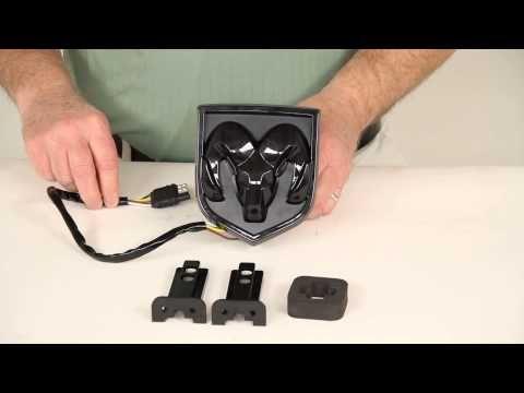 Dodge ram Illuminated emblem and red brake eyes - YouTube