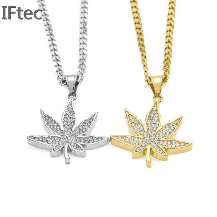 Vogue Gold Color Jamaica Weed Rhinestone Necklaces //Price: $28.47 & FREE Shipping //     #cannabis