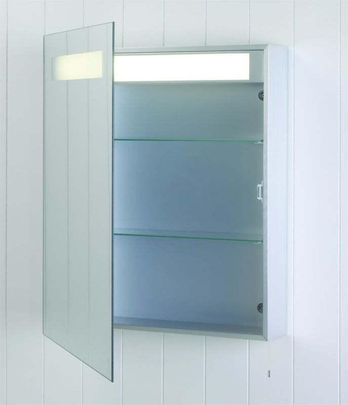 Illuminated And Mirrored Bathroom Cabinet With Shelves And Shaver Socket