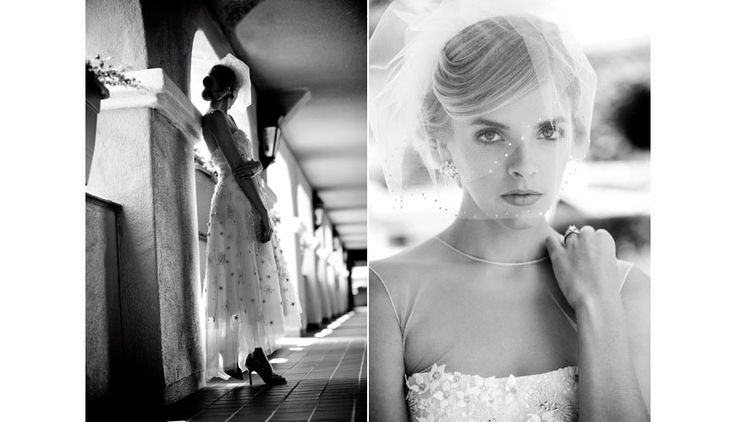 Monique Lhuillier wedding gowns and veils, Erin Cole Couture accessories, bridal fashion at the Del Mar racetrack