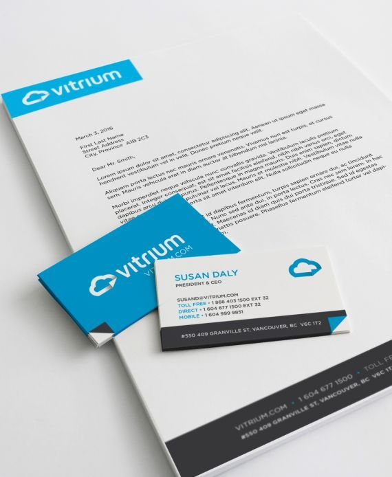 Vitrium Stationery Design Business Cards And Letterhead Tech Company Branding And Web Design By Studiothink Vanco Branding Web Design Stationery Design