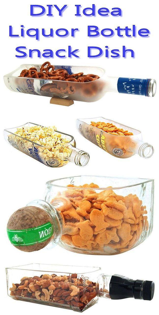diy idea liquor bottle snack dish | Liquor Bottle Snack Bowl // #fatherday #recycle #mancave