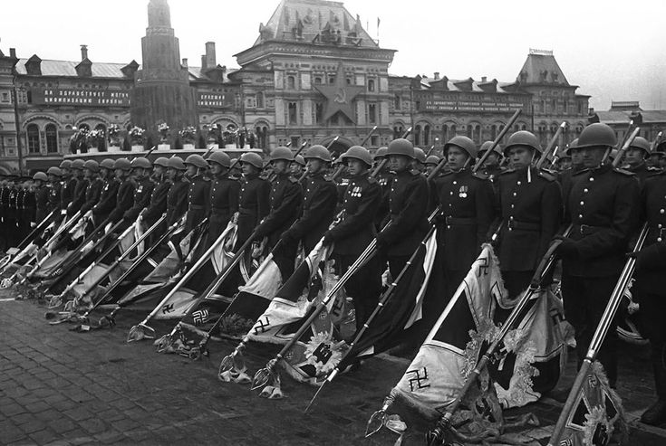 Soviet soldiers with lowered standards of the defeated Nazi forces during the Victory Day parade in Moscow, on June 24, 1945