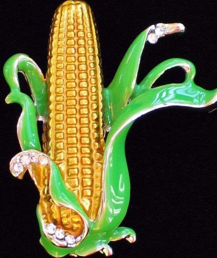 FALL THANKSGIVING SCARECROW FARM VEGETABLE EAR OF CORN CROP PIN BROOCH JEWELRY  #Unbranded