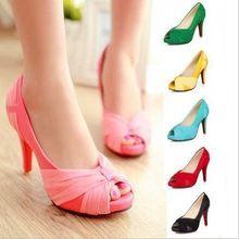 nieuwe mode vrouwen hoge hakken rode onderkant bruiloft schoenen grote maten nachtclub bruids schoenen 8 kleuren open teen platform pompen voor vrouwen(China (Mainland))