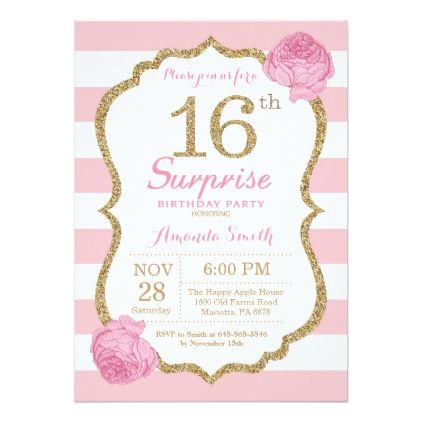 Surprise 16th Birthday Invitation Pink And Gold