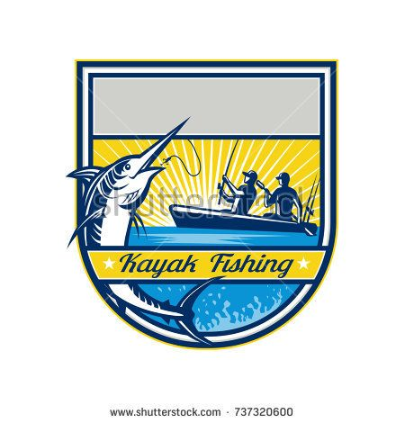 Retro badge style illustration of tandem fisherman kayak fishing catching a jumping blue marlin with sunburst set inside batch on isolated background.  #kayakfishing #retro #illustration