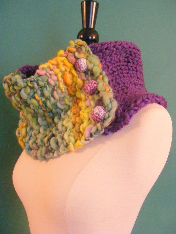 Knitting Handspun Yarn : Hand knit cowl handspun yarn chunky by