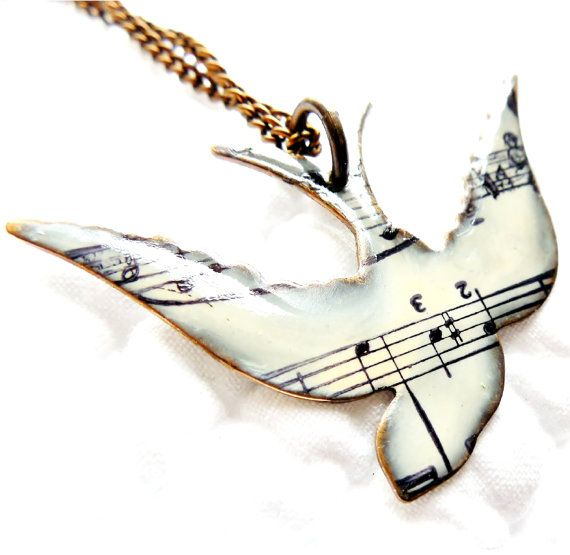 Unique Necklace, Song Bird Necklace, Music Note Necklace, Gifts for Her, Spring, Songbird Jewelry, Music Jewelry, Graduation, Friend