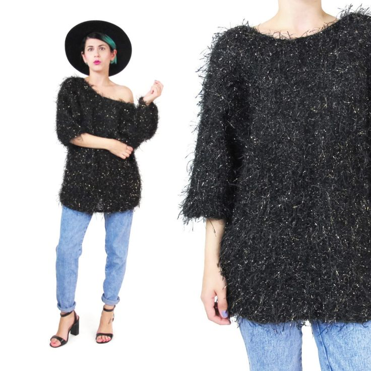 New to honeymoonmuse on Etsy: Vintage Shaggy Sweater Gold Black Fluffy Sweater Fuzzy Hairy Metallic Eyelash Sweater Slouchy Off Shoulder Sweater Knit Sparkly Jumper (M) (52.00 CAD)