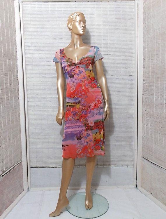 Floral mesh dress plunging neckline midi dress summer by IuSshop