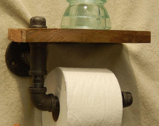 Industriële, zwarte pijp WC-Rolhouder met plank
