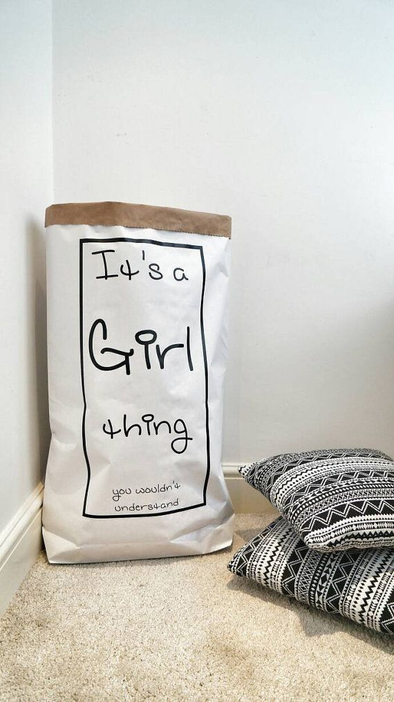 Girl Thing...- Personalised Bag/ Storage Bag for dresses, books, magazines, clothes / Paper Toy Sack / Paper Toy Bag / Custom storage bag /