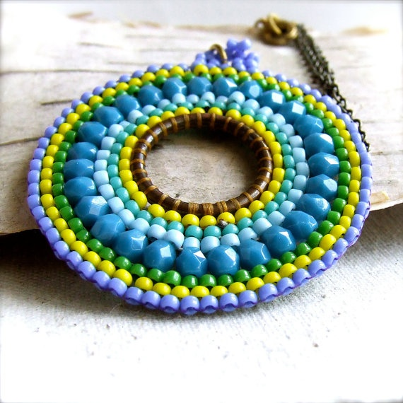 Teal Glass Seed Bead Woven Brass  Necklace Cyan  by balanced, $48.00