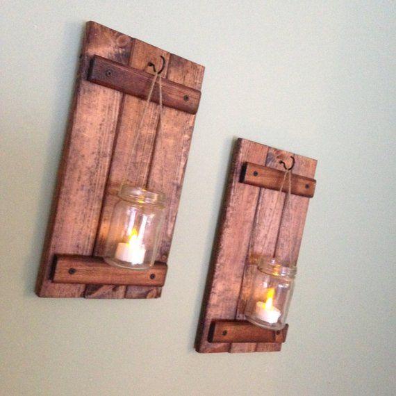 Rustic Wall Decor Wooden Candle Holder Rustic Mason Jar Etsy