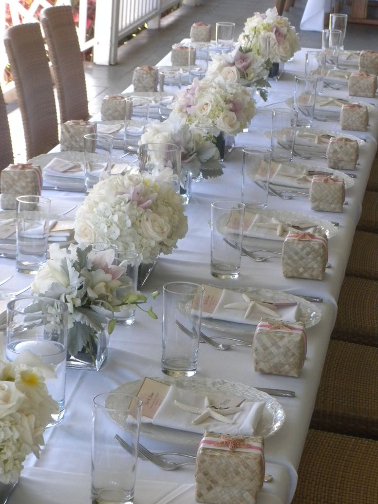 Luxuriously white  wedding tables cape but without the beach theme and less flower more light
