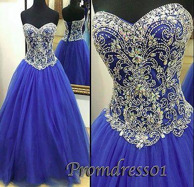 Sequins prom dress, sweetheart prom dress, beautiful blue organza long evening dress for teens
