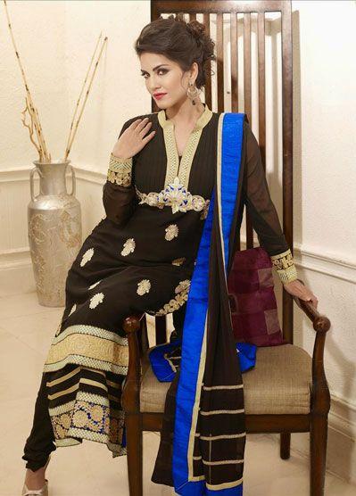 USD 73.9 Sunny Leone Black Resham Work Party Wear Salwar Suit    33799