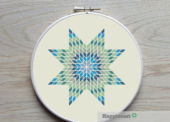 geometric cross stitch pattern star modern cross por Happinesst