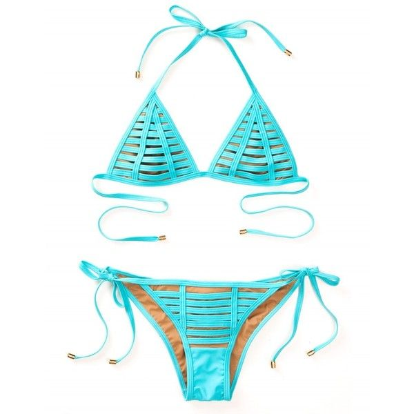 Beach Bunny Swimwear ($110) ❤ liked on Polyvore featuring swimwear, bikinis, summer swimwear, aqua beachwear, triangle bikinis, triangle swimwear and aqua swimwear