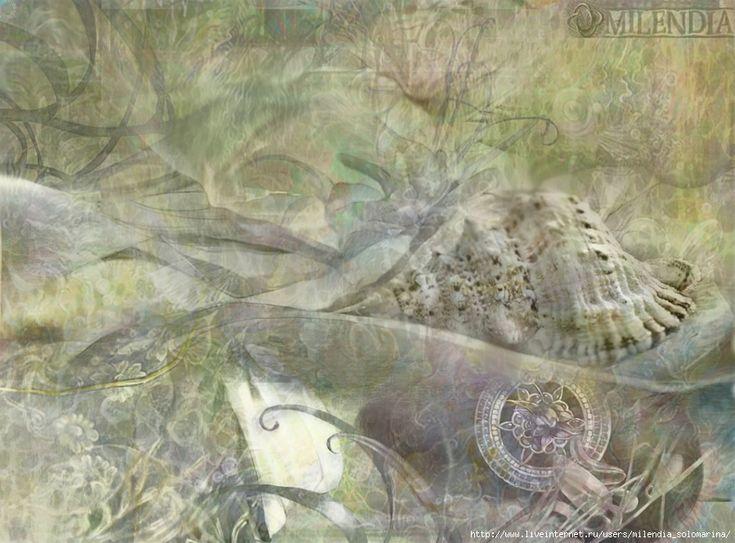 Монотипии-коллажи для батика.. Sea Deep