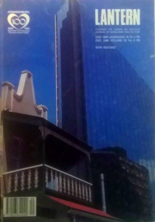 Buy Lantern Tydskrif. Johannesburg 100 Jaar uitgawe. Des 1986 Jaargang 35 Nr…