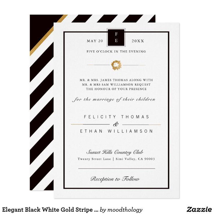 Elegant Black White Gold Stripe Wedding Invitation